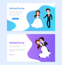 wedding planning man and woman dancing website vector image