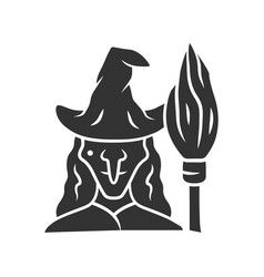 Witch glyph icon silhouette symbol wicked vector