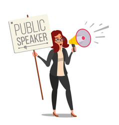 Woman shouting through megaphone public vector