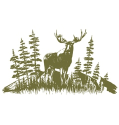 Woodcut Moose Design vector image
