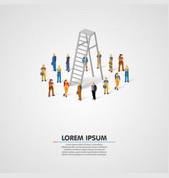 worker group with ladder vector image