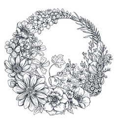 wreath with hand drawn flowers leaves and vector image