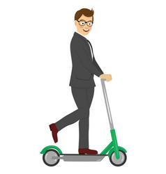 young businessman riding his electric scooter vector image
