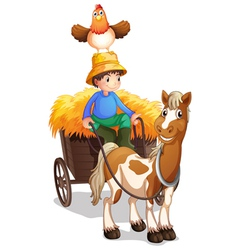 A farmer riding a cart with a chicken above his vector image vector image