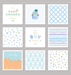 boy baby shower templates seamless patterns set in vector image