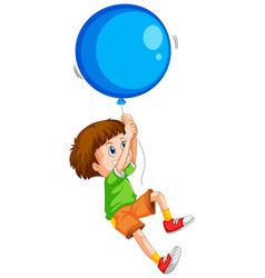 happy boy with blue balloon vector image