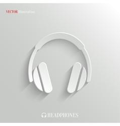 Headphones icon - white app button vector image