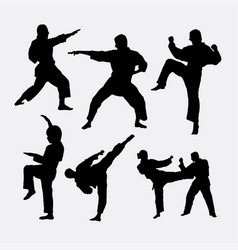 karate martial art fighter sport silhouette vector image vector image
