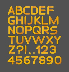 Paper yellow strict alphabet rounded Isolated on vector image vector image