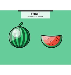Set of whole and sliced watermelon pieces vector image