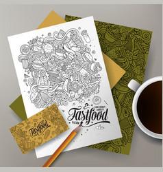 cartoon cute doodles fastfood corporate vector image
