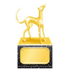 golden trophy dog racing vector image