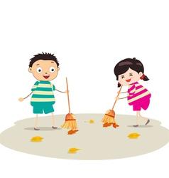 little girl sweeping vector image vector image