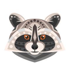 raccoon head logo decorative emblem vector image