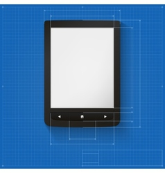 Realistic e-book on the drawing grid with vector image