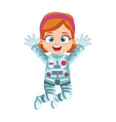 Astronaut girl cartoon vector