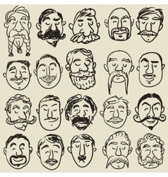 Collection of male faces with mustache vector image