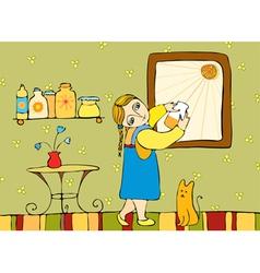 girl room window vector image vector image