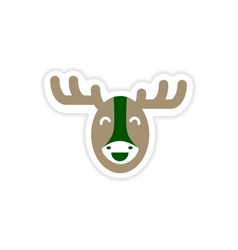 Paper sticker canadian moose on white background vector