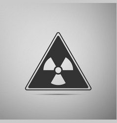 triangle sign with a radiation symbol flat icon on vector image