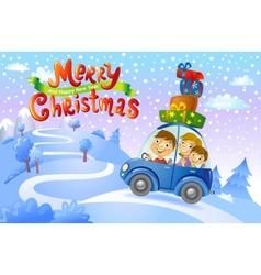 Christmas family trip vector image vector image