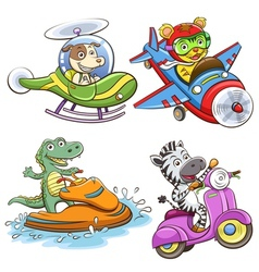 funny vehicle and animal vector image vector image