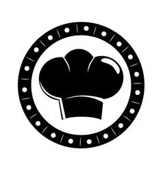 Monochrome circular border with silhouette chefs vector