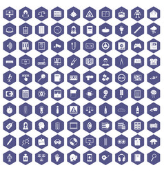 100 information icons hexagon purple vector