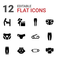 12 diaper icons vector image