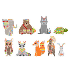animals wearing tribal clothing set vector image