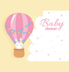 baby shower white rabbit in air balloon welcome vector image