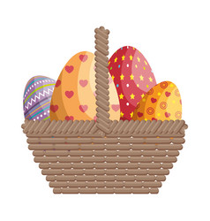 Basket eggs easter vector