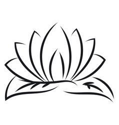 black outlines of lotus on white background vector image