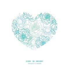 Blue line art flowers heart silhouette vector