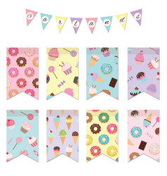 Bunting flags set for birthday party design vector