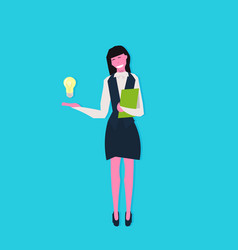 Businesswoman holding book light lamp innovation vector