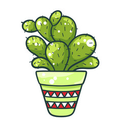 cactus green icon flower in pot and tropical vector image