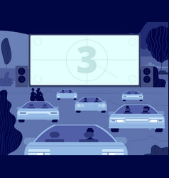 car cinema large kino theater outside drive vector image