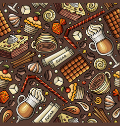 cartoon coffee shop seamless pattern vector image
