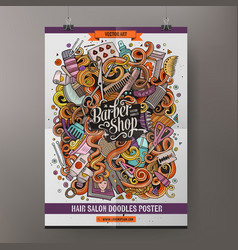 cartoon doodles hair salon poster vector image