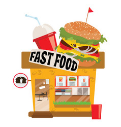 Cartoon fast food restaurant small shop business vector