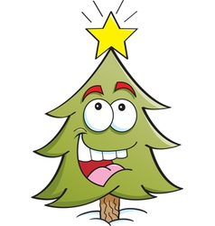 Cartoon Happy Pine Tree vector image