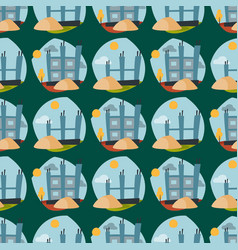 Construction site seamless pattern industry vector