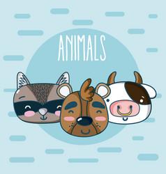 cute animals friends cartoon vector image