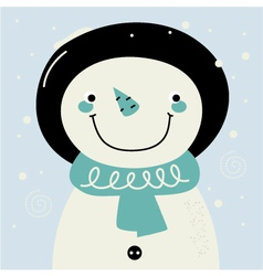 Cute retro stylized hand drawn Snowman vector