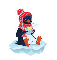 Cute sick penguin in funny hat and scarf vector