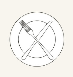 Cutlery knife fork plate doodle icons design vector