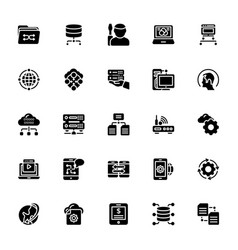 Data management glyph icons pack vector