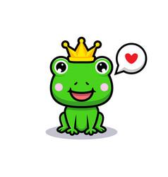 Design cute frog king vector