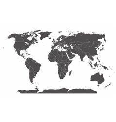 detailed silhouette world map with states vector image
